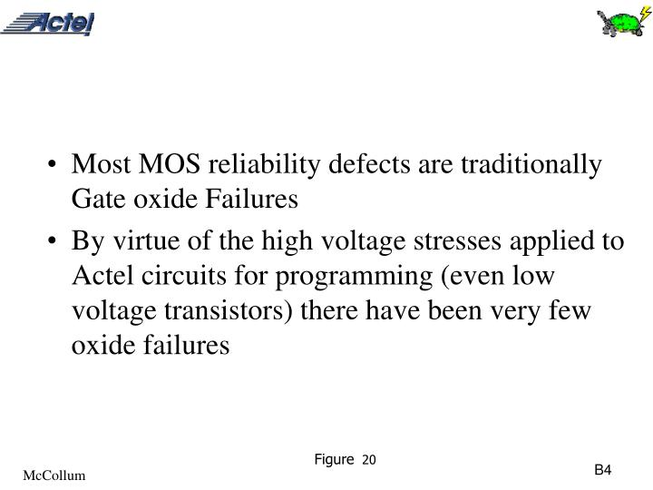 Most MOS reliability defects are traditionally Gate oxide Failures