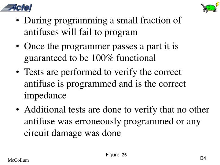 During programming a small fraction of antifuses will fail to program