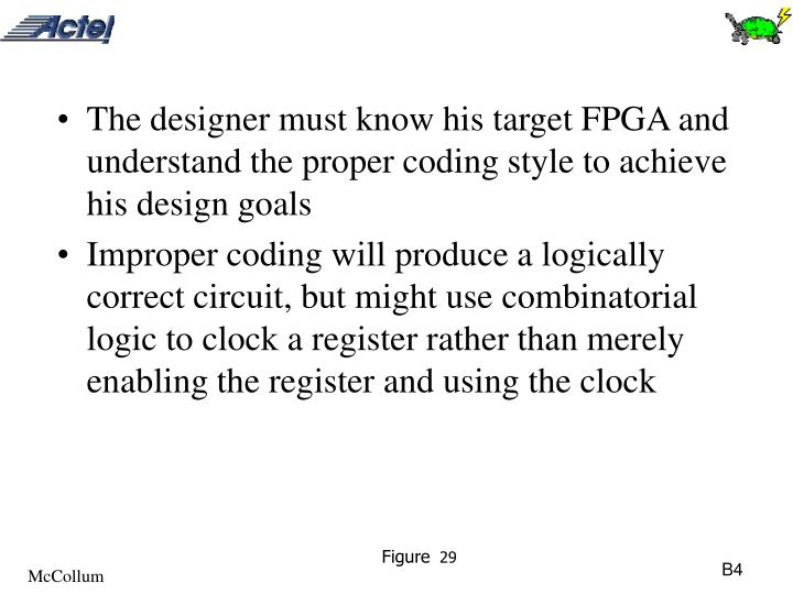 The designer must know his target FPGA and understand the proper coding style to achieve his design goals