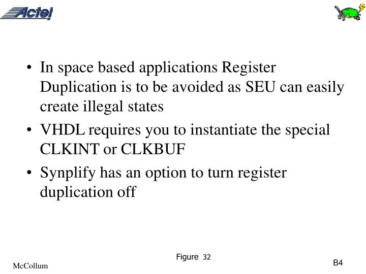 In space based applications Register Duplication is to be avoided as SEU can easily create illegal states