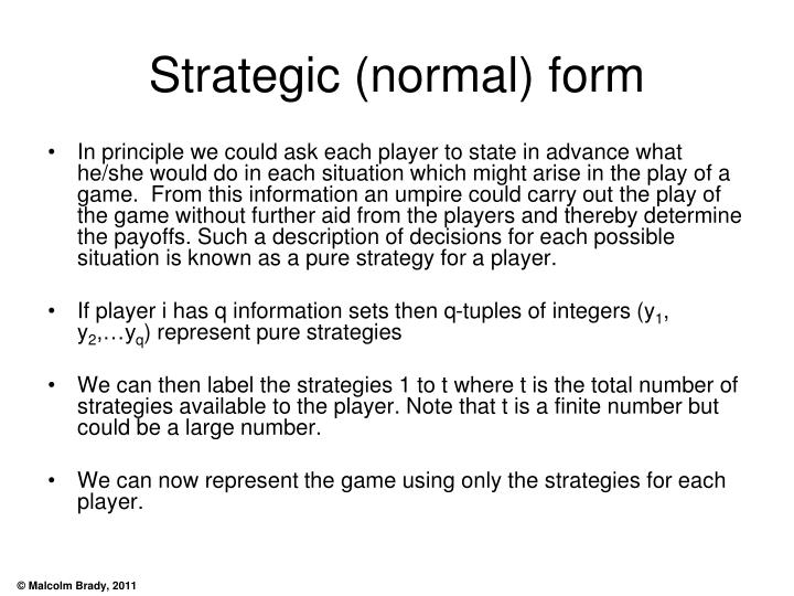 Strategic (normal) form