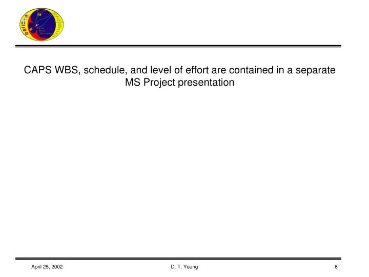 CAPS WBS, schedule, and level of effort are contained in a separate MS Project presentation