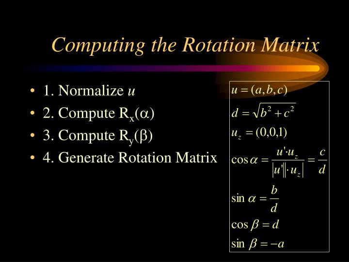 Computing the Rotation Matrix