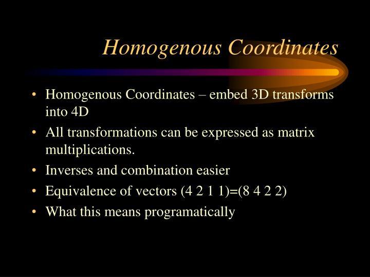 Homogenous Coordinates