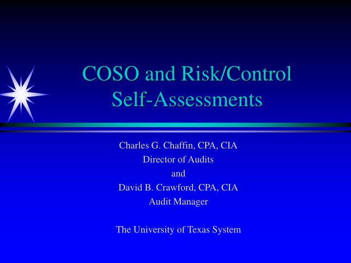 Coso and risk control self assessments