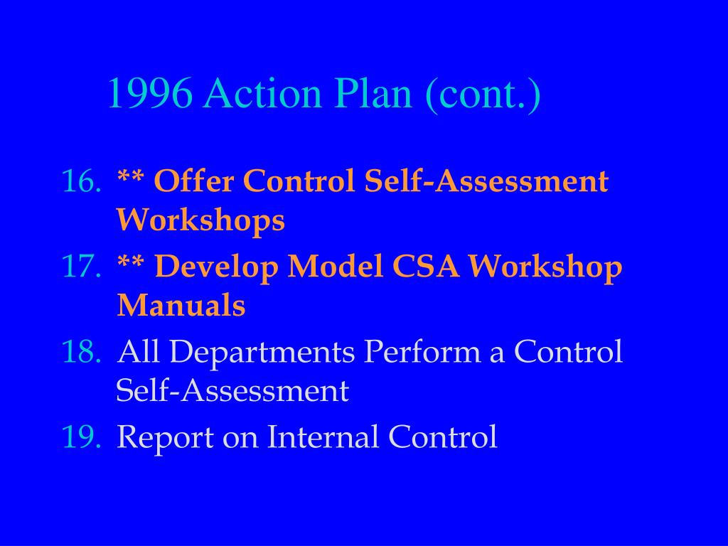 1996 Action Plan (cont.)