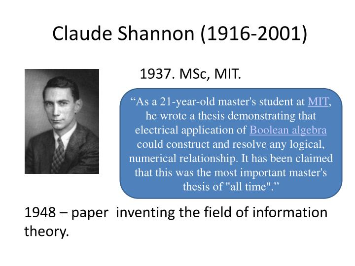 Claude Shannon Masters Thesis