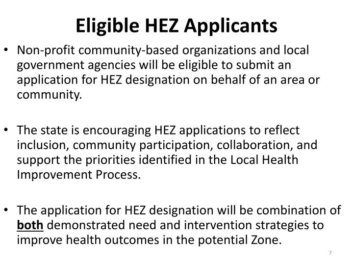 Eligible HEZ Applicants