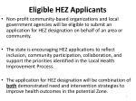 eligible hez applicants