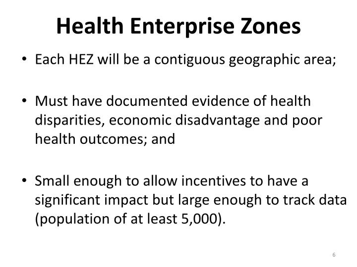 Health Enterprise Zones