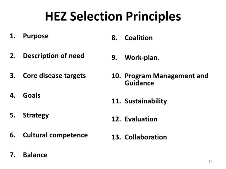 HEZ Selection Principles