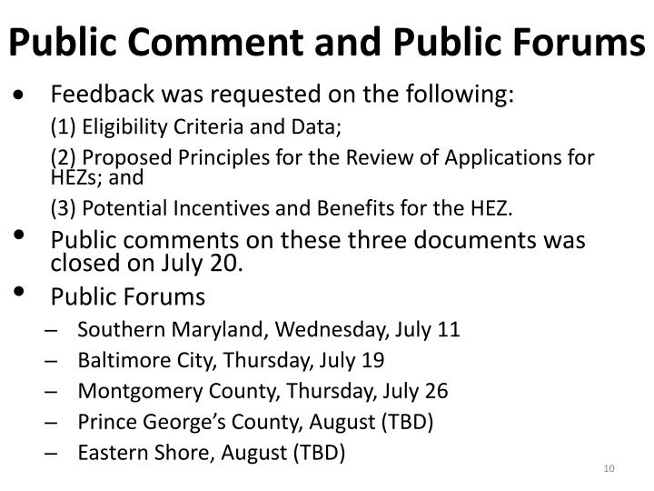Public Comment and Public Forums