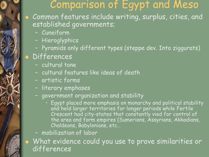 Comparison of Egypt and Meso