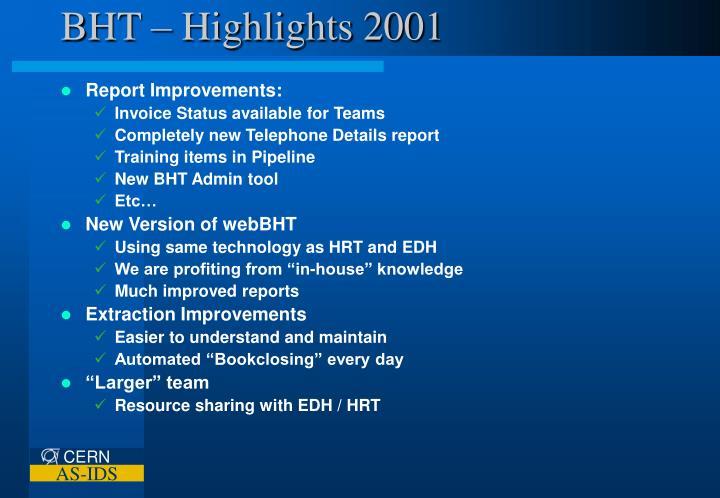 BHT – Highlights 2001