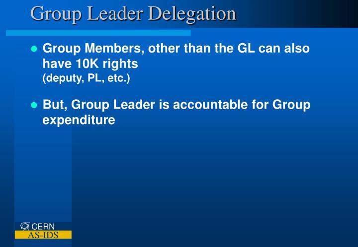 Group Leader Delegation