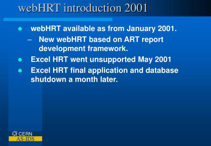 webHRT introduction 2001