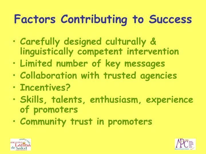 Factors Contributing to Success