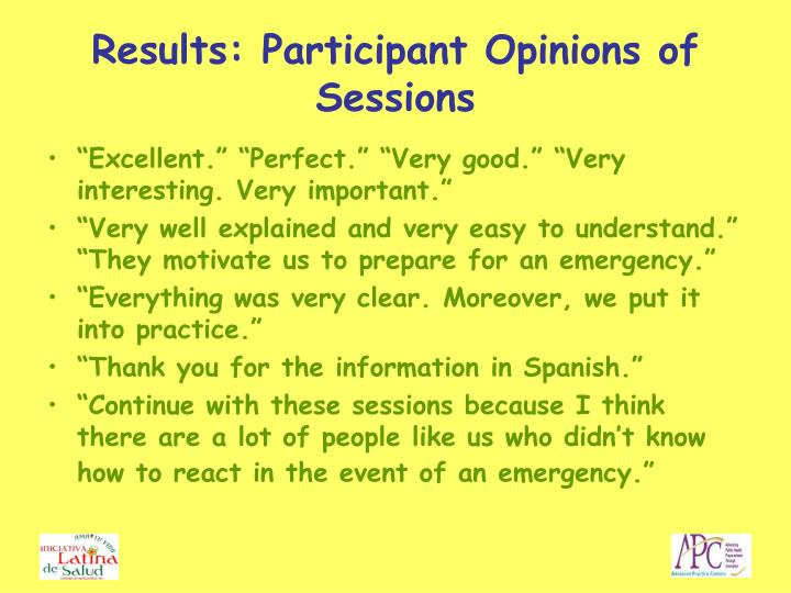 Results: Participant Opinions of Sessions