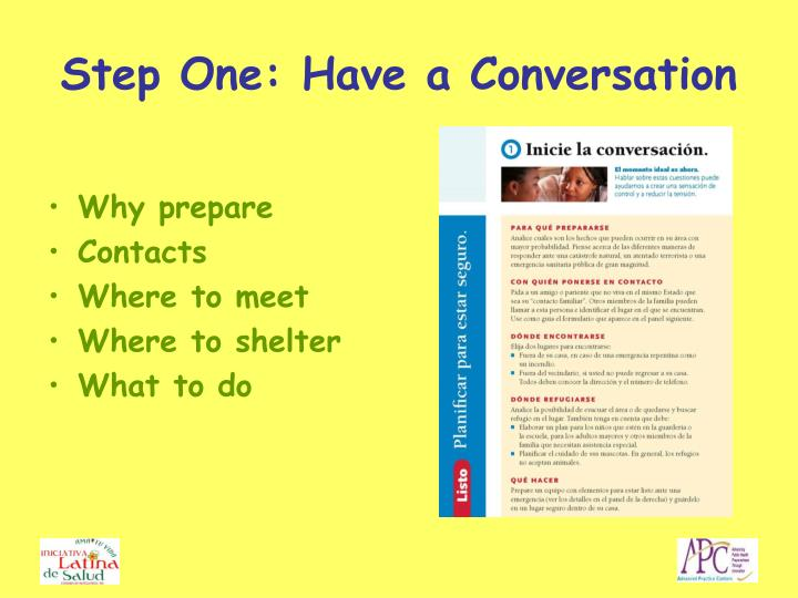Step One: Have a Conversation