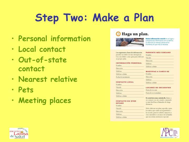 Step Two: Make a Plan