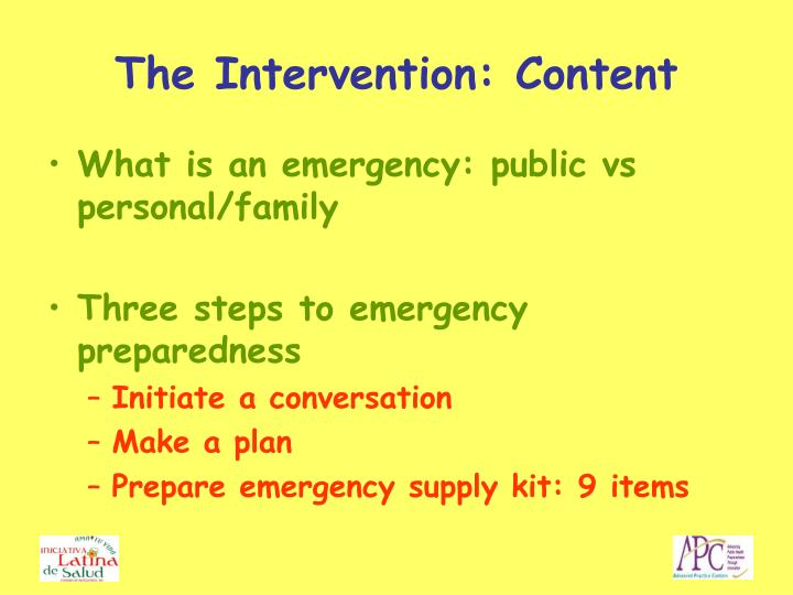 The Intervention: Content