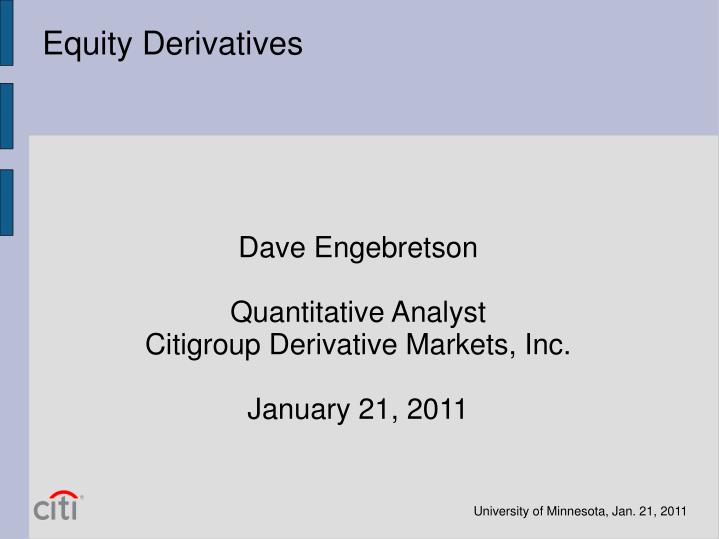 Equity Derivatives