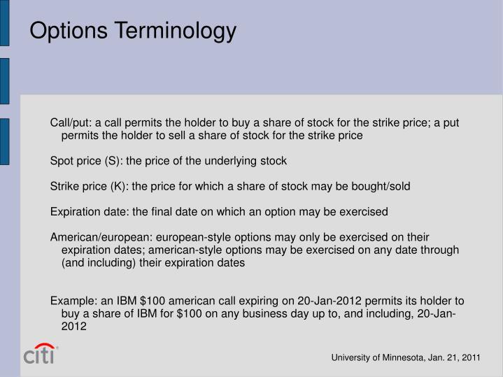 Options Terminology