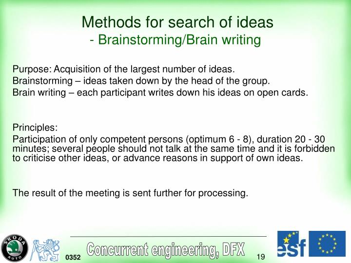 Methods for search of ideas