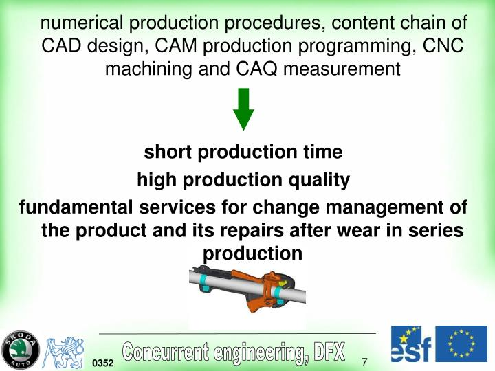 numerical production procedures, content chain of CAD design, CAM production programming, CNC machining and CAQ measurement