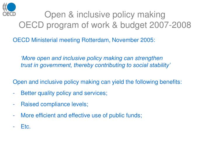 Open & inclusive policy making