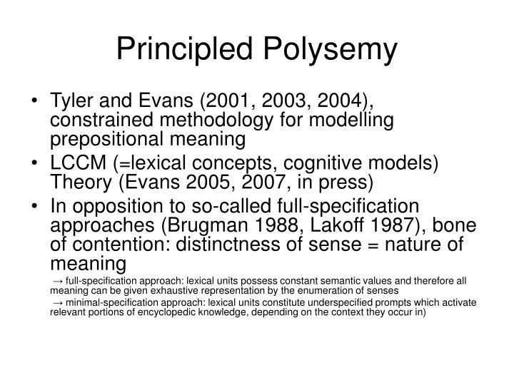 Principled Polysemy