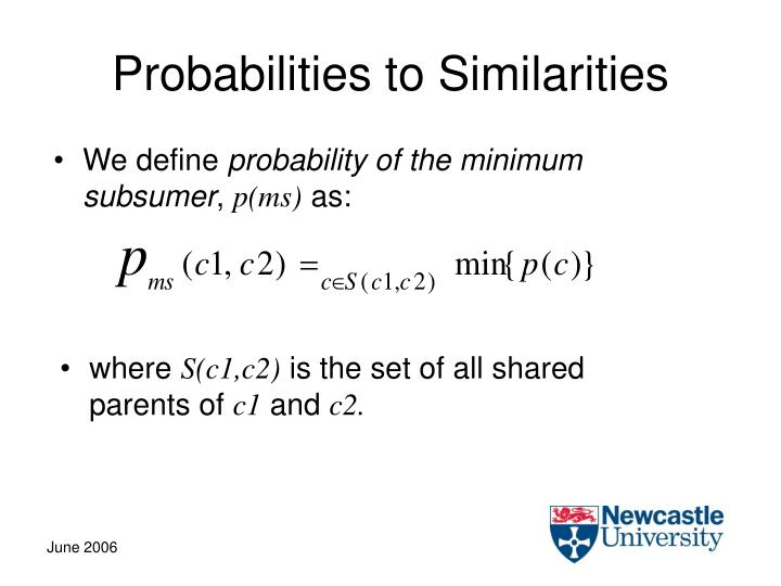 Probabilities to Similarities