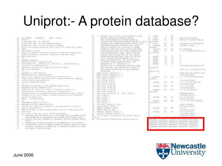 Uniprot:- A protein database?