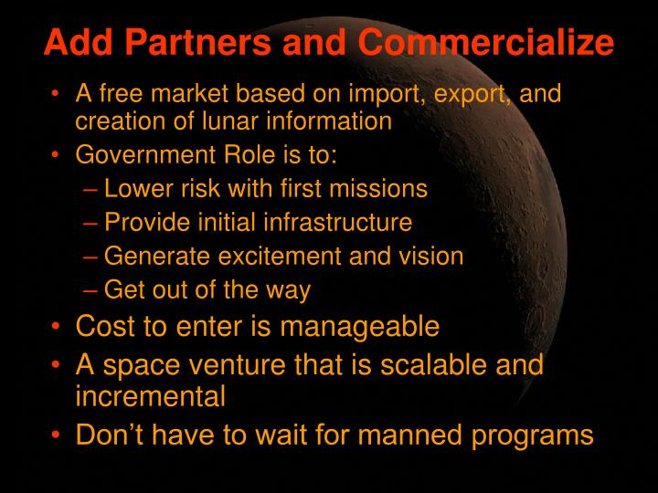 Add Partners and Commercialize