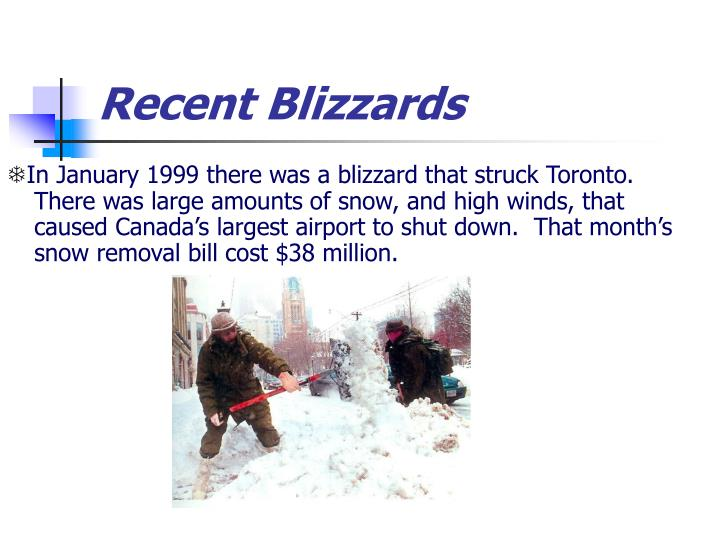 Recent Blizzards