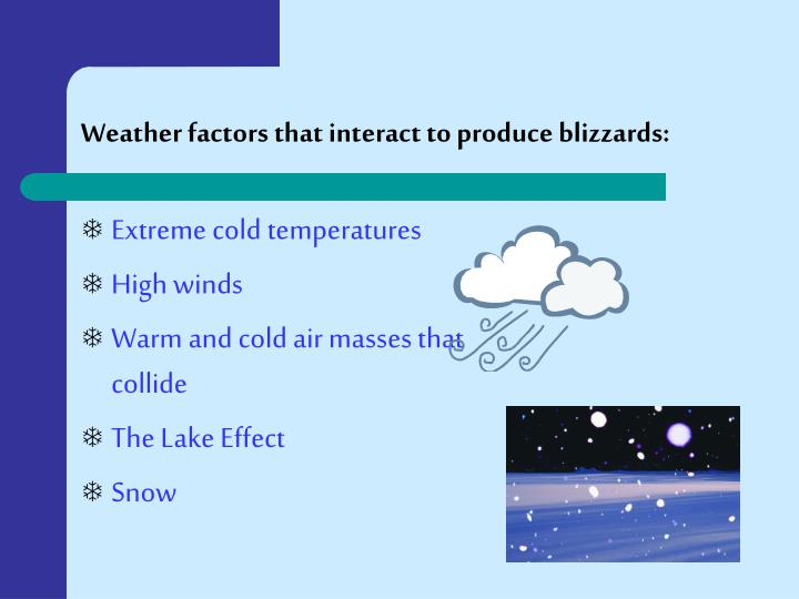 Weather factors that interact to produce blizzards: