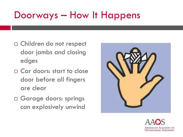 Children do not respect door jambs and closing edges