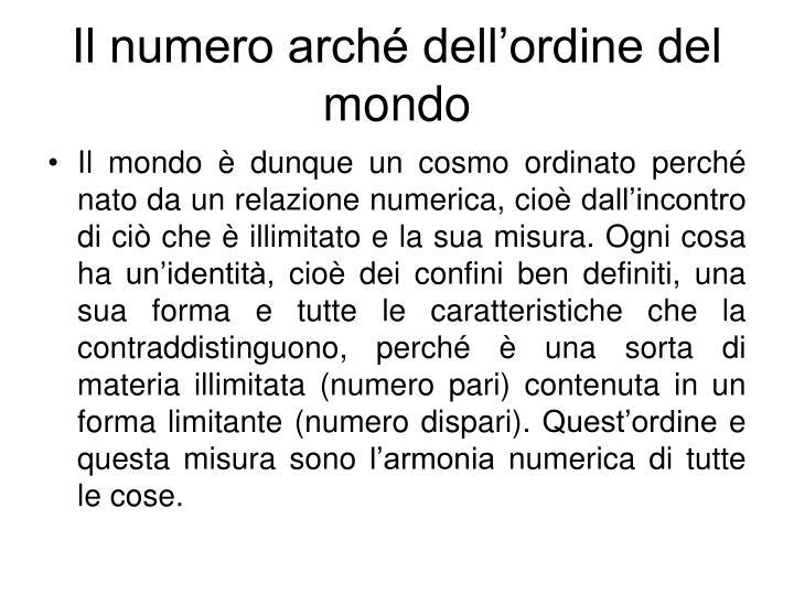 Il numero arché dell'ordine del mondo