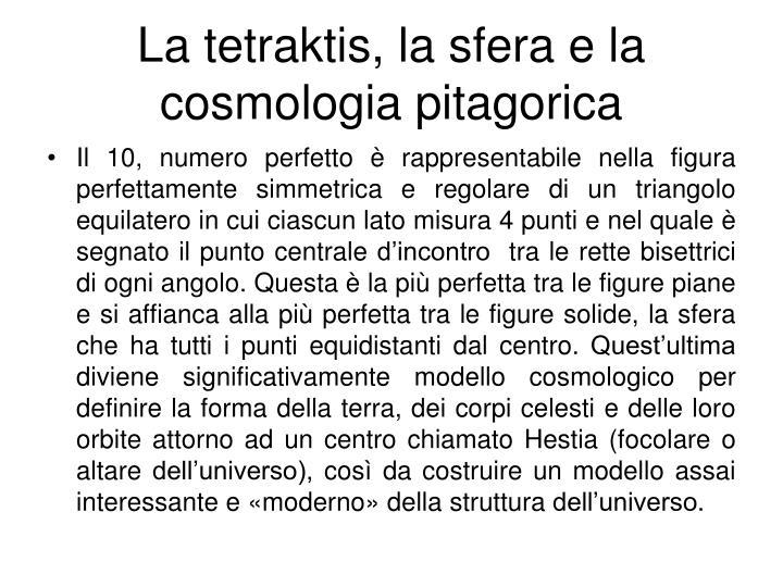 La tetraktis, la sfera e la cosmologia pitagorica