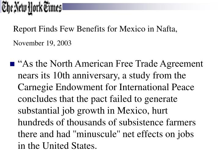Report Finds Few Benefits for Mexico in Nafta,