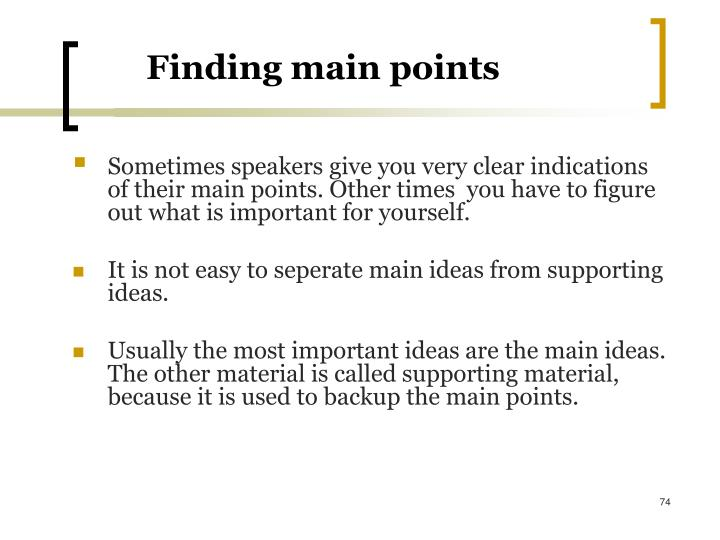 Finding main points