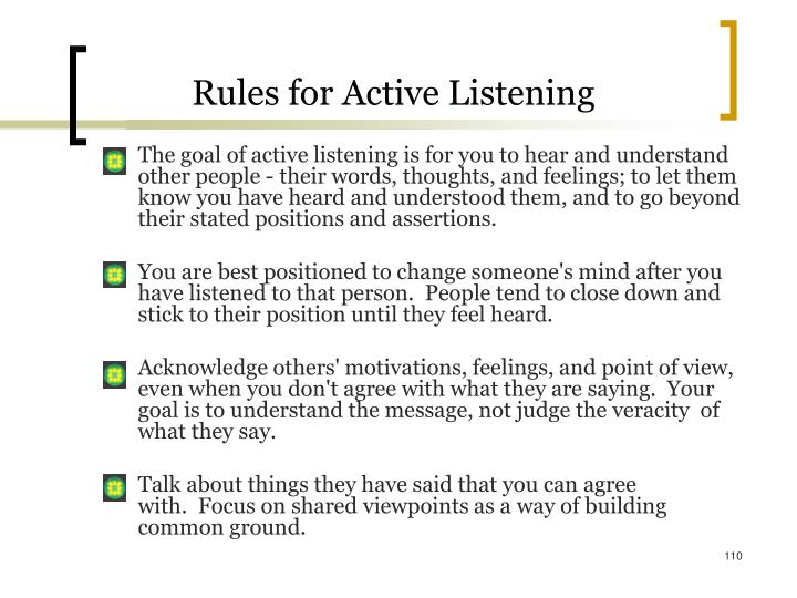 Rules for Active Listening