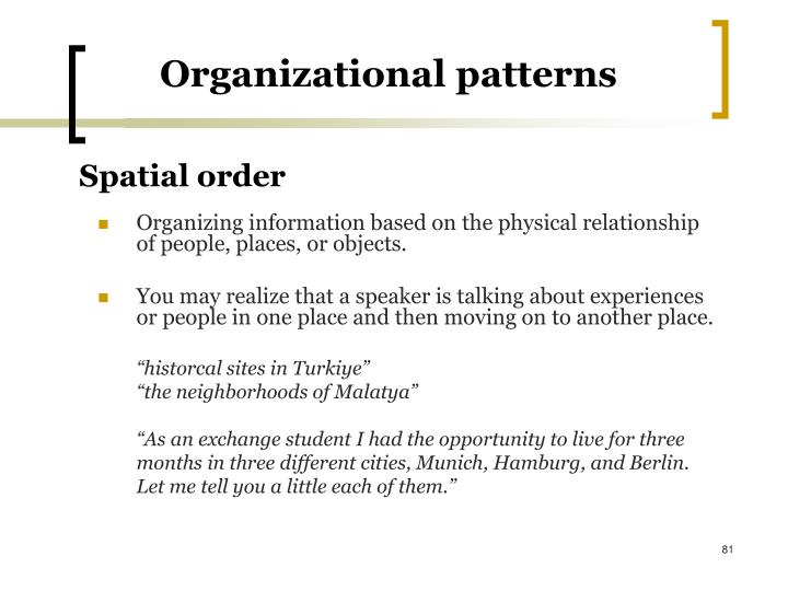 Organizational patterns