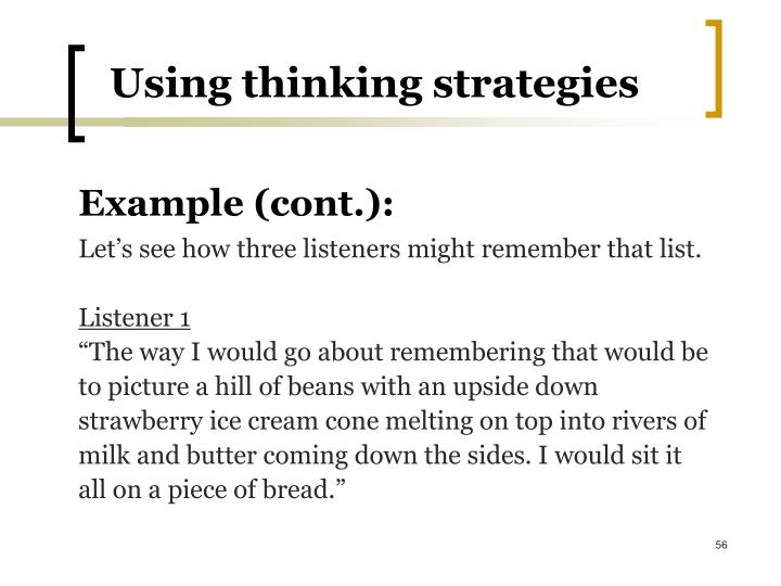 Using thinking strategies