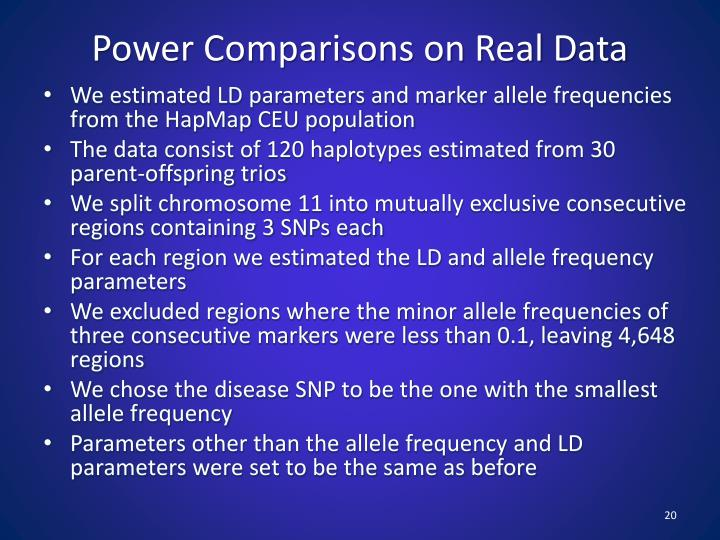 Power Comparisons on Real Data