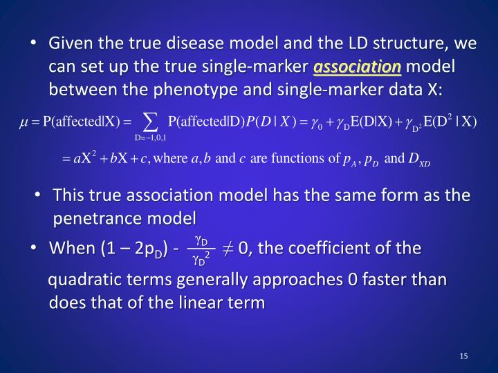 Given the true disease model and the LD structure, we can set up the true single-marker
