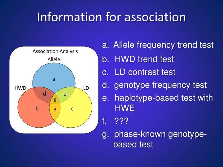 Information for association