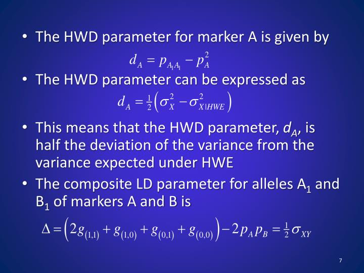The HWD parameter for marker A is given by