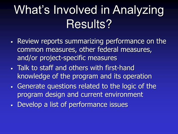 What's Involved in Analyzing Results?