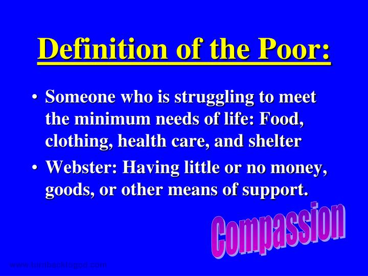 Definition of the Poor: